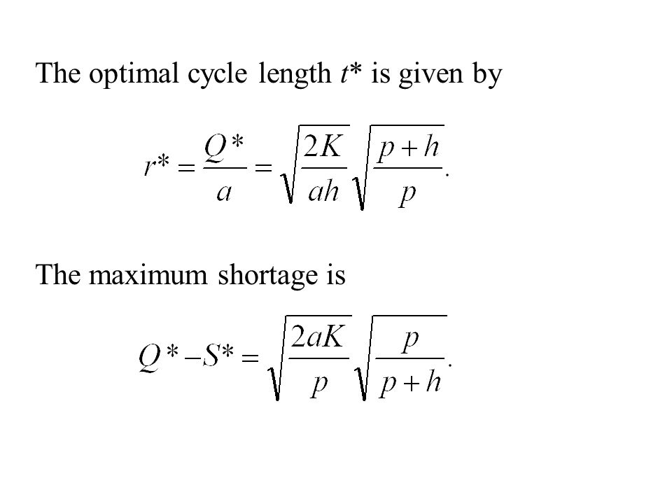 The optimal cycle length t* is given by