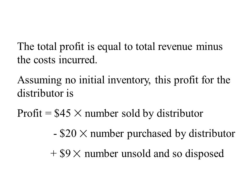 The total profit is equal to total revenue minus the costs incurred.