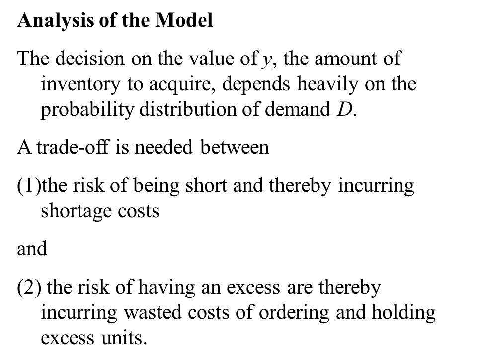 Analysis of the Model