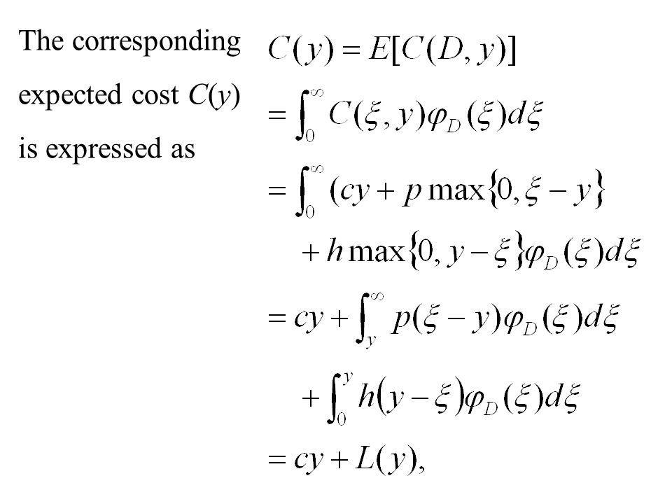 The corresponding expected cost C(y) is expressed as