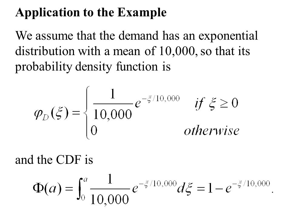 Application to the Example