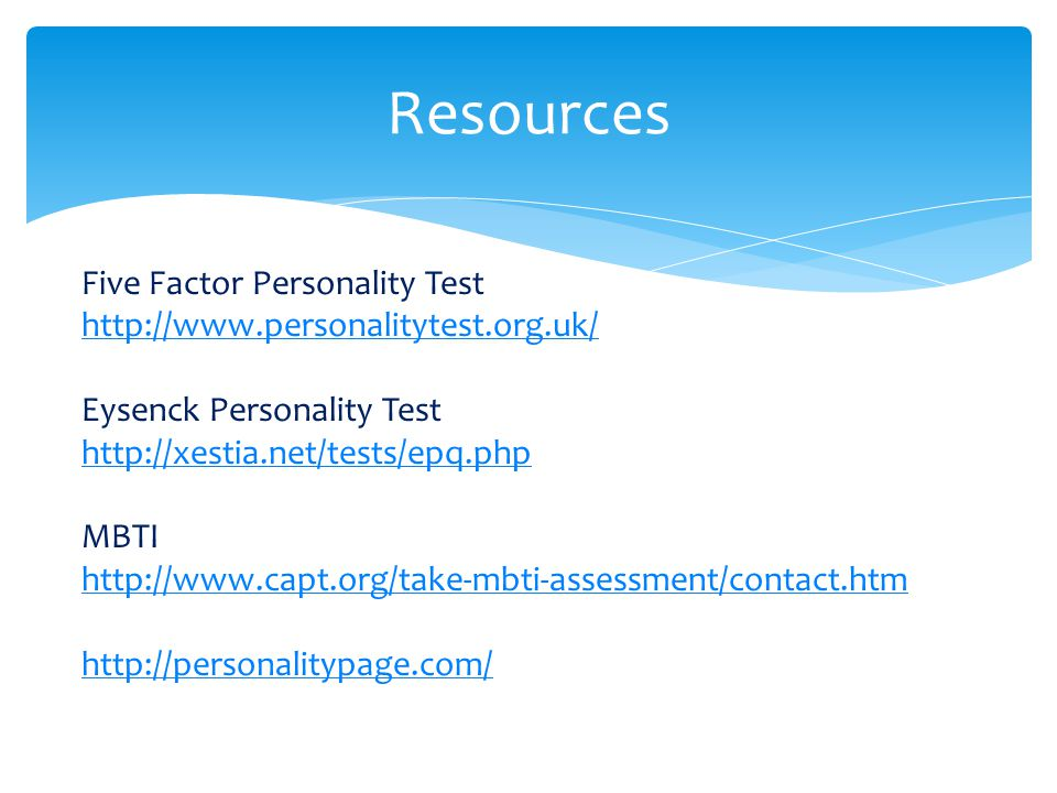 Resources Five Factor Personality Test