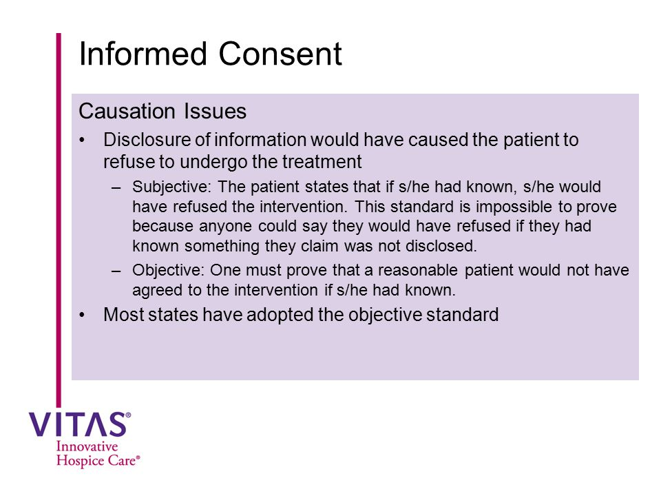 Informed Consent Causation Issues