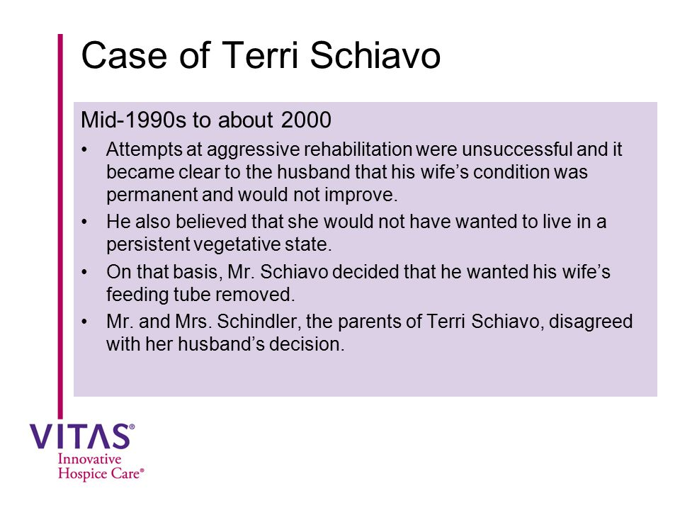Case of Terri Schiavo Mid-1990s to about 2000