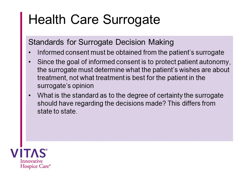 Health Care Surrogate Standards for Surrogate Decision Making