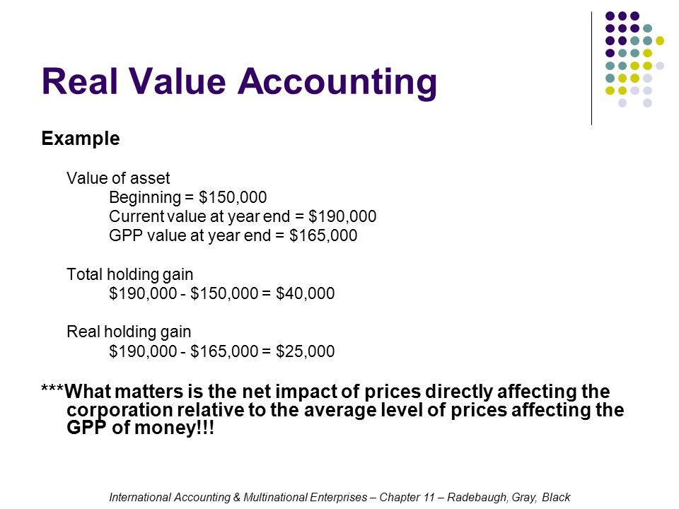 Real Value Accounting Example