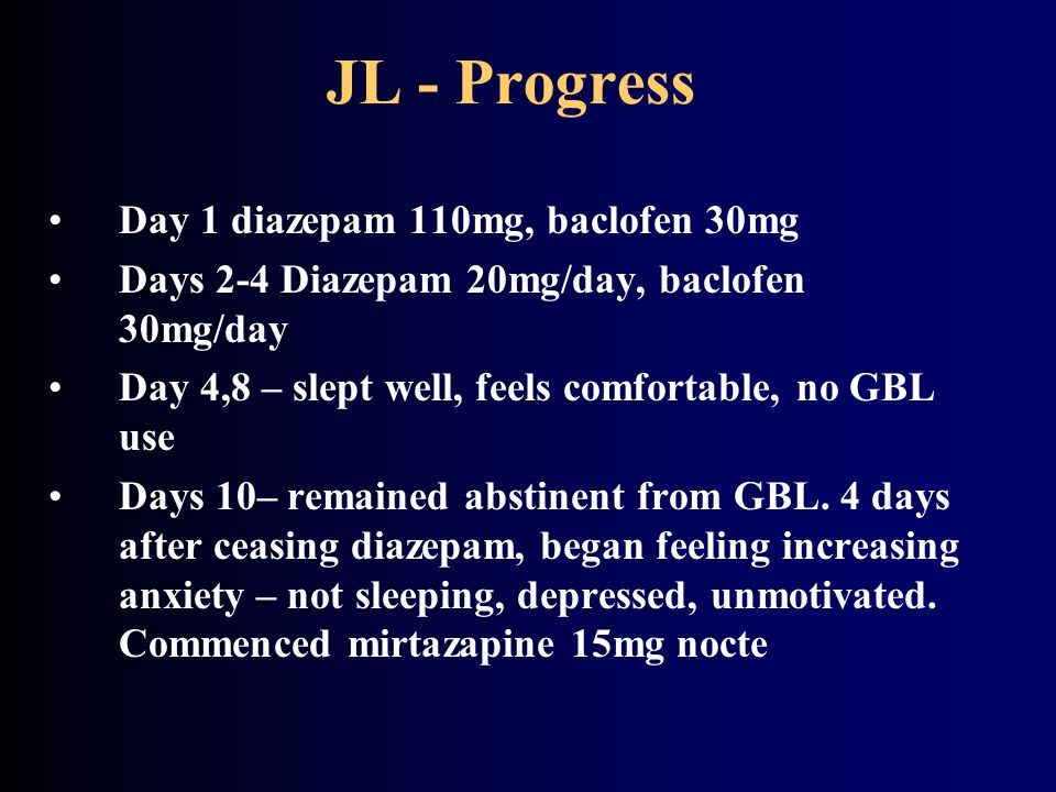 JL - Progress Day 1 diazepam 110mg, baclofen 30mg