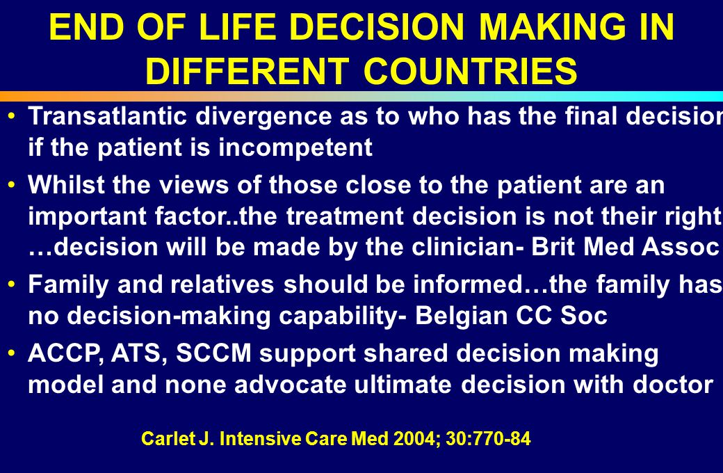 END OF LIFE DECISION MAKING IN DIFFERENT COUNTRIES