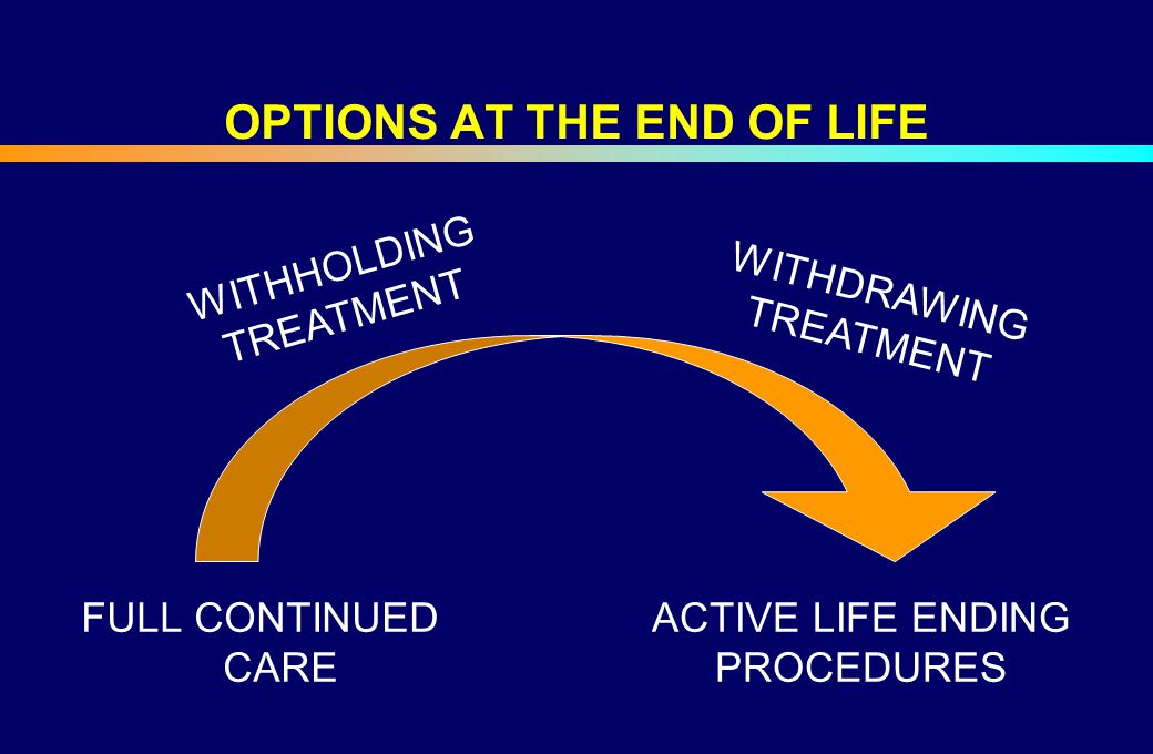 OPTIONS AT THE END OF LIFE