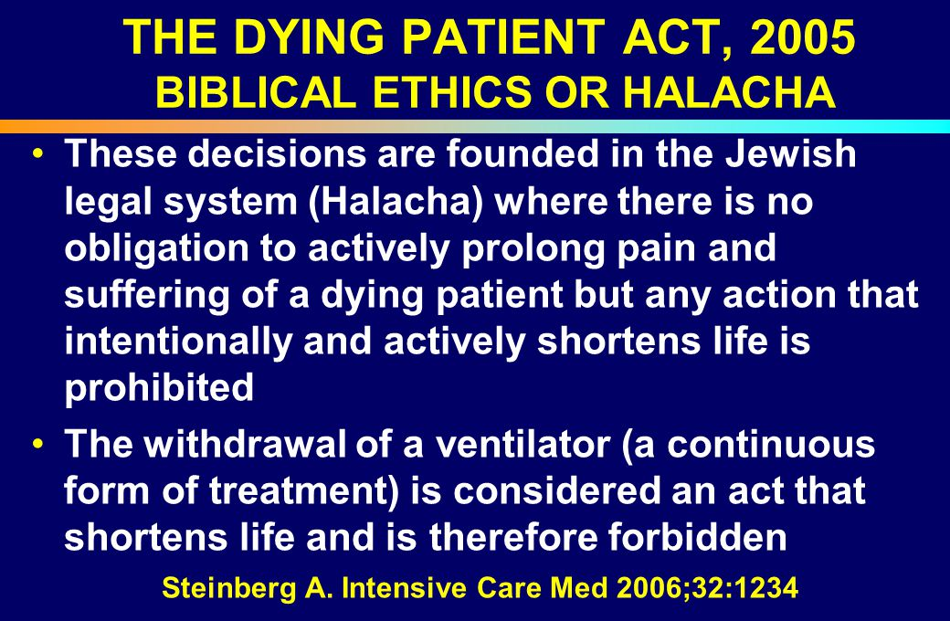 THE DYING PATIENT ACT, 2005 BIBLICAL ETHICS OR HALACHA