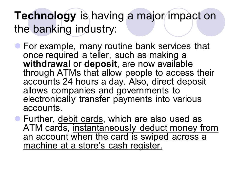 Technology is having a major impact on the banking industry: