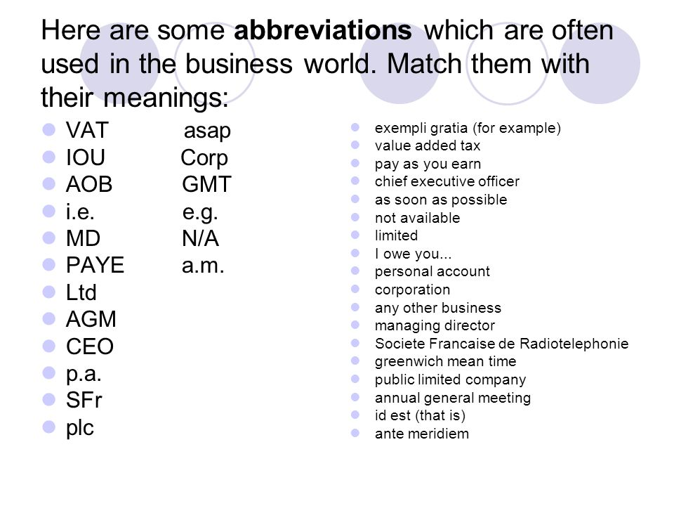 Here are some abbreviations which are often used in the business world