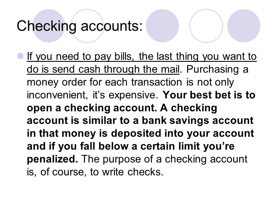 Checking accounts: