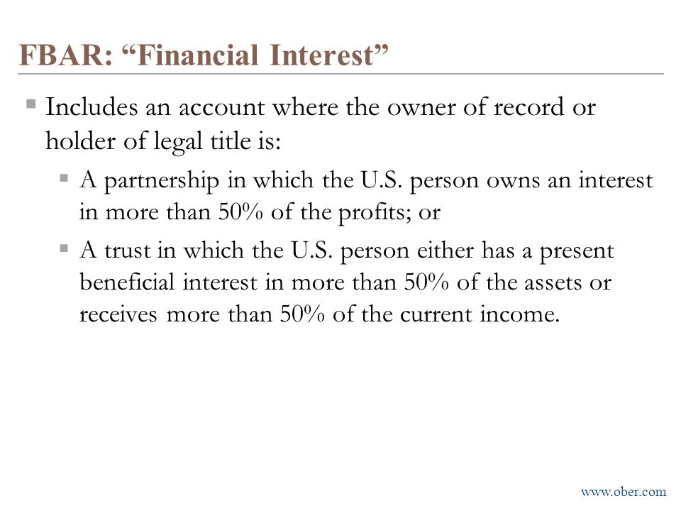 FBAR: Financial Interest