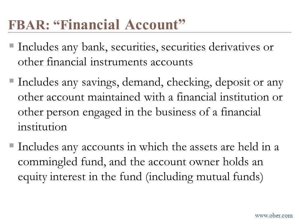 FBAR: Financial Account