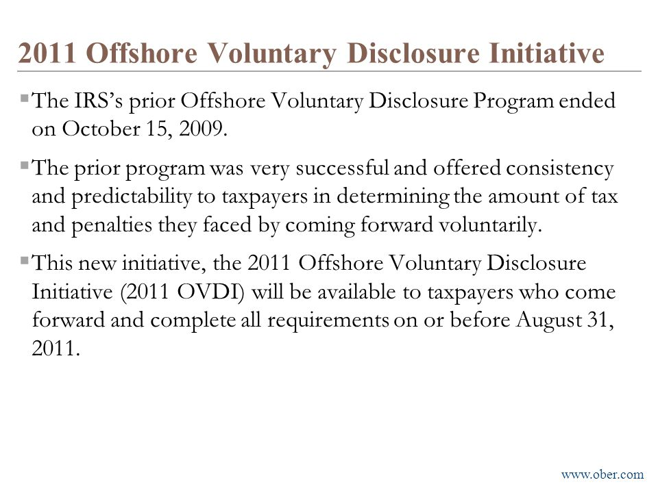 2011 Offshore Voluntary Disclosure Initiative