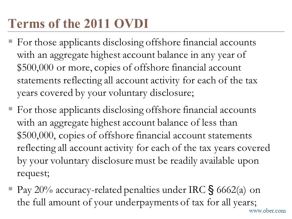 Terms of the 2011 OVDI