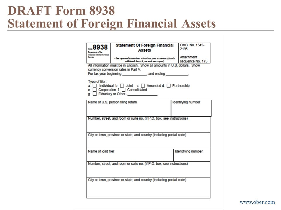 DRAFT Form 8938 Statement of Foreign Financial Assets