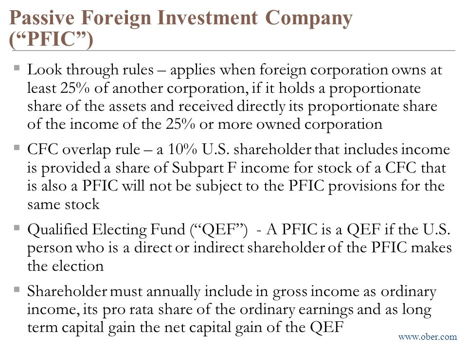 Passive Foreign Investment Company ( PFIC )