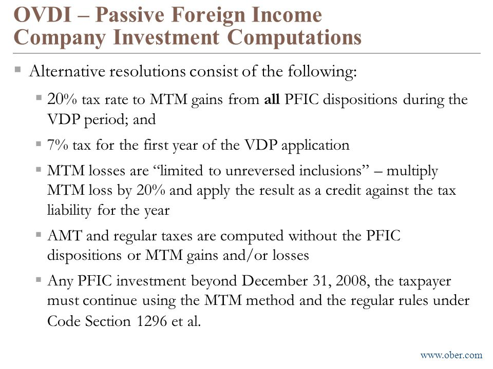 OVDI – Passive Foreign Income Company Investment Computations