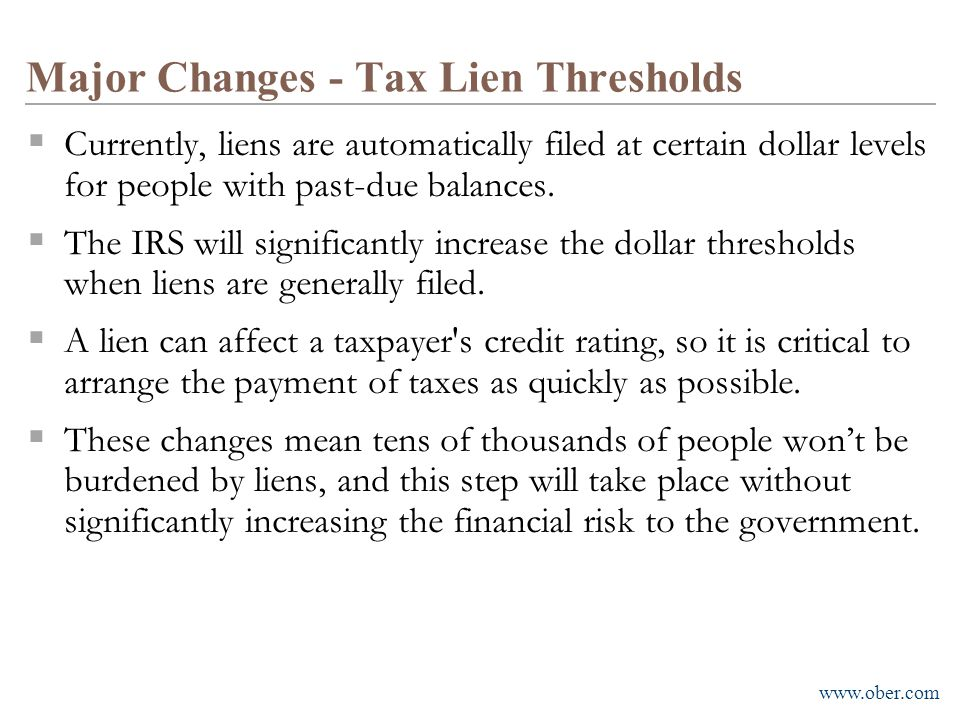 Major Changes - Tax Lien Thresholds