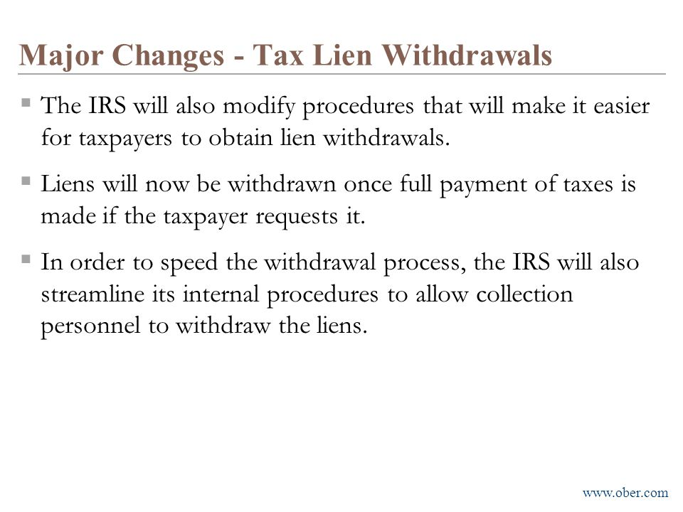 Major Changes - Tax Lien Withdrawals