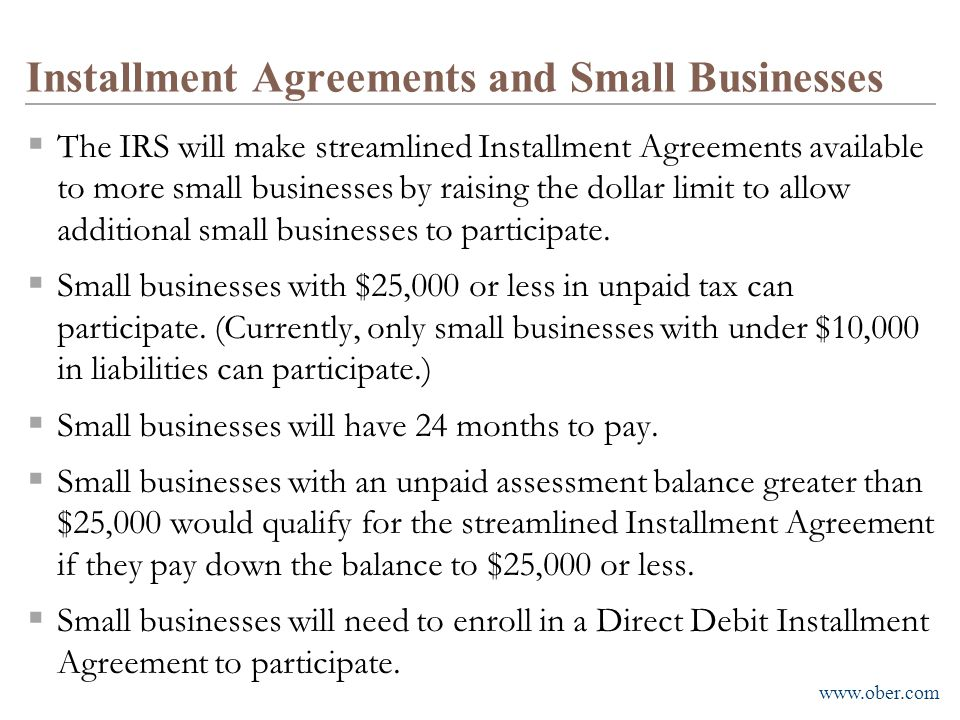 Installment Agreements and Small Businesses