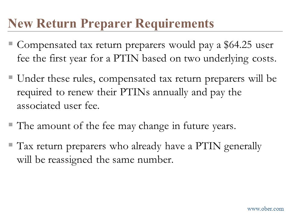 New Return Preparer Requirements