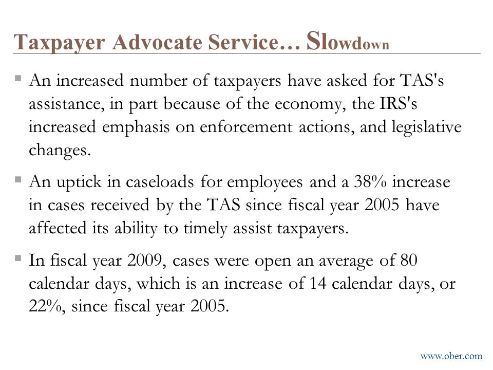 Taxpayer Advocate Service… Slowdown