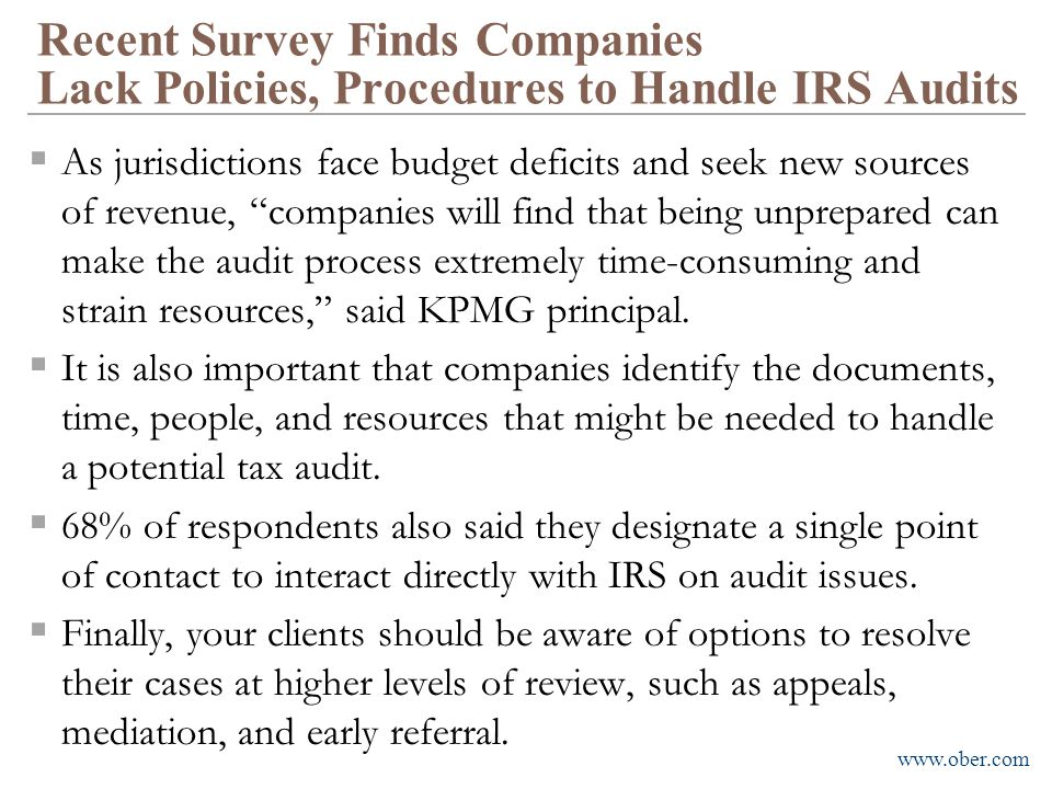 Recent Survey Finds Companies Lack Policies, Procedures to Handle IRS Audits