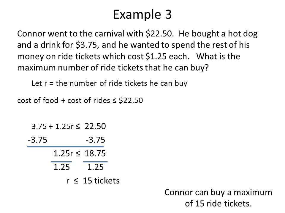 Connor can buy a maximum of 15 ride tickets.