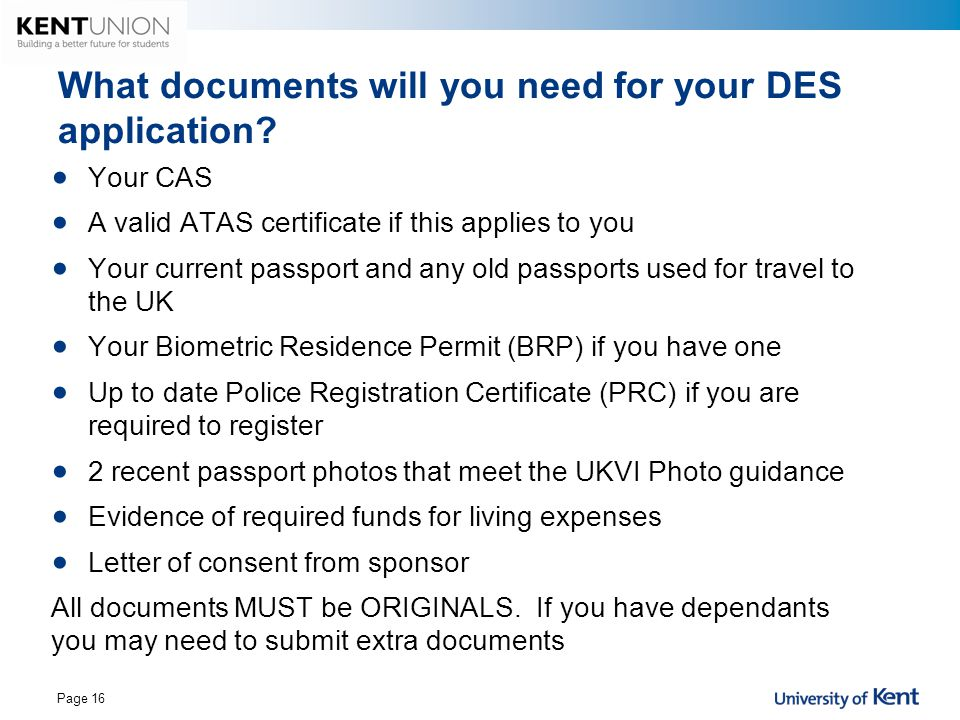 What documents will you need for your DES application