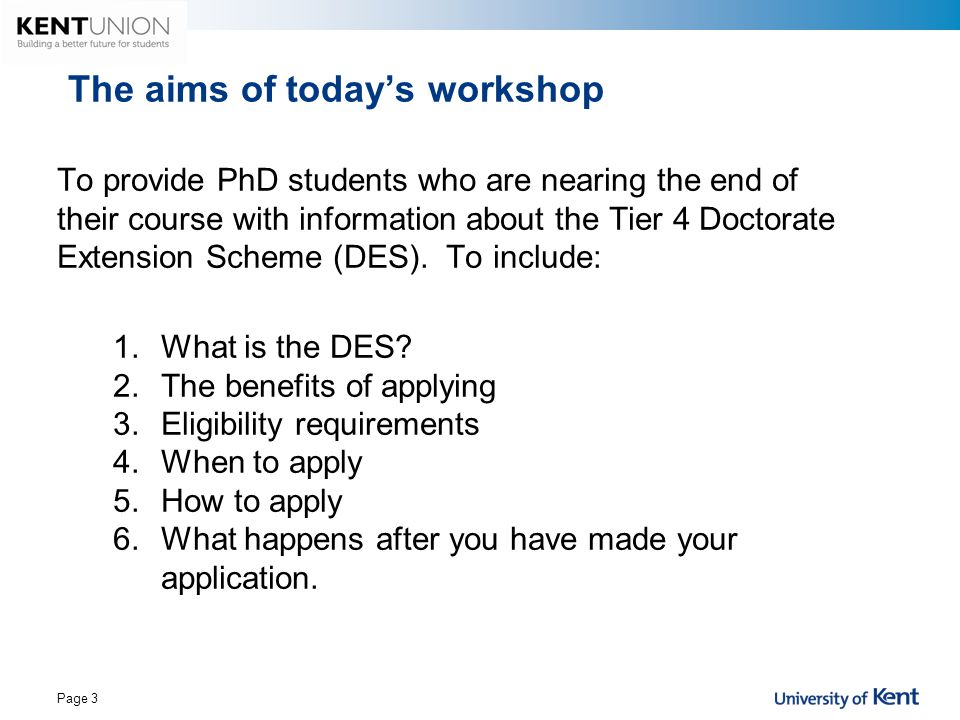 The aims of today's workshop