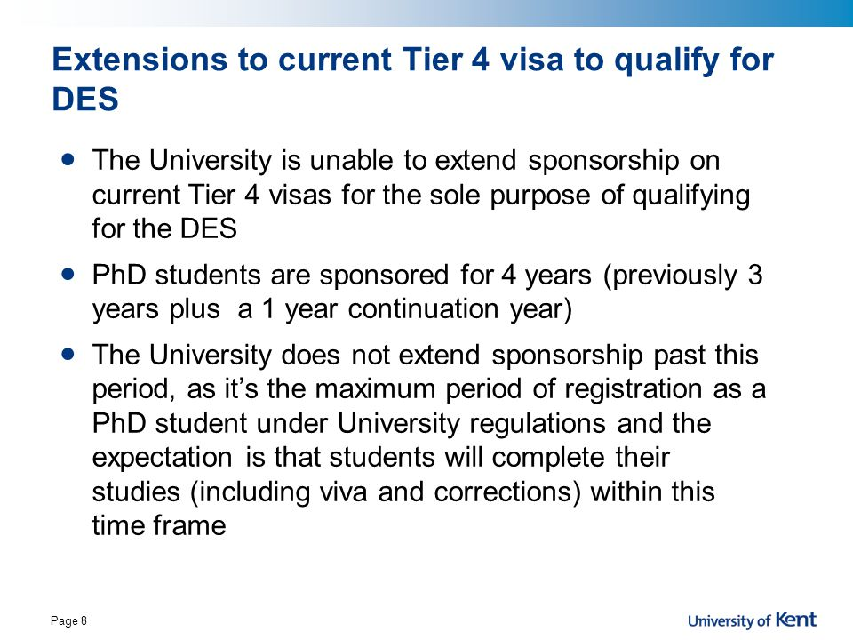 Extensions to current Tier 4 visa to qualify for DES