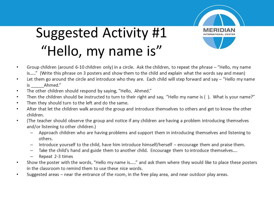 Suggested Activity #1 Hello, my name is