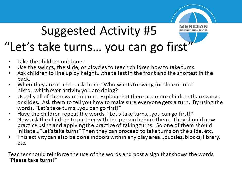 Suggested Activity #5 Let's take turns… you can go first