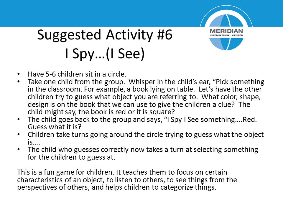 Suggested Activity #6 I Spy…(I See)