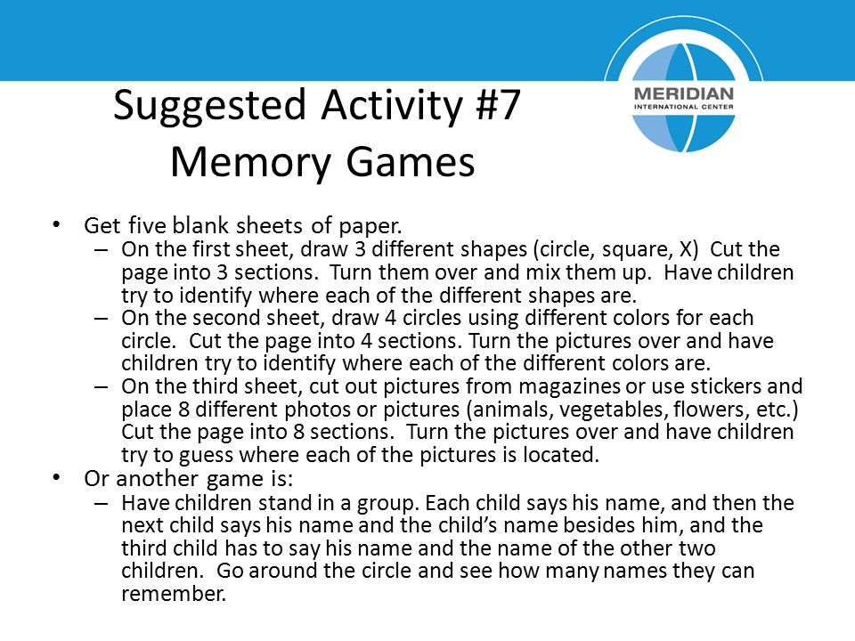 Suggested Activity #7 Memory Games