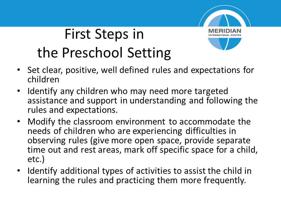 First Steps in the Preschool Setting