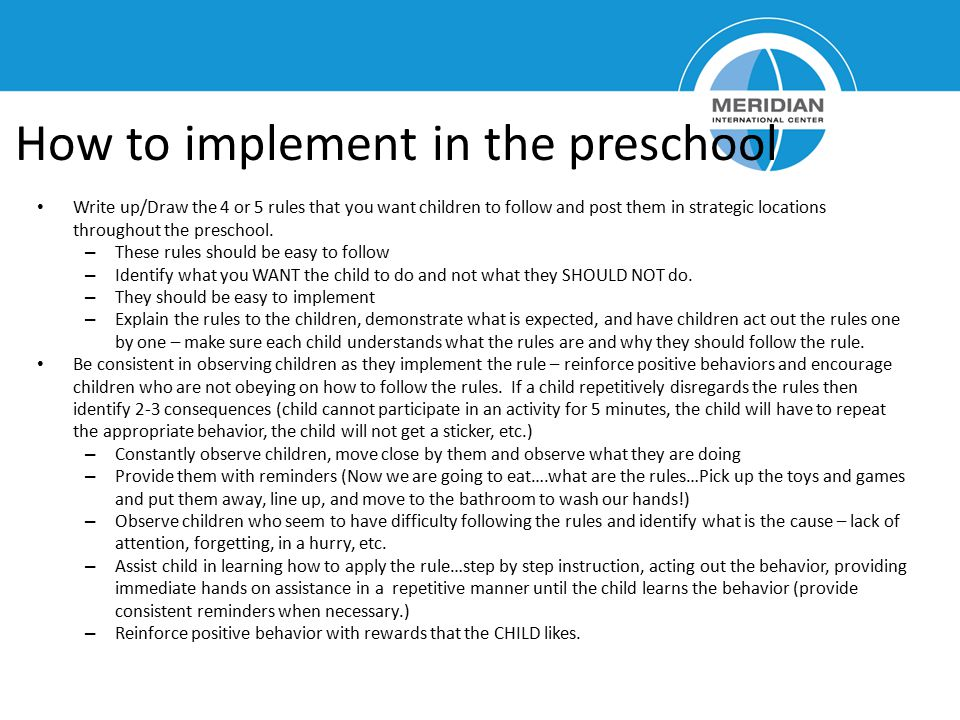 How to implement in the preschool