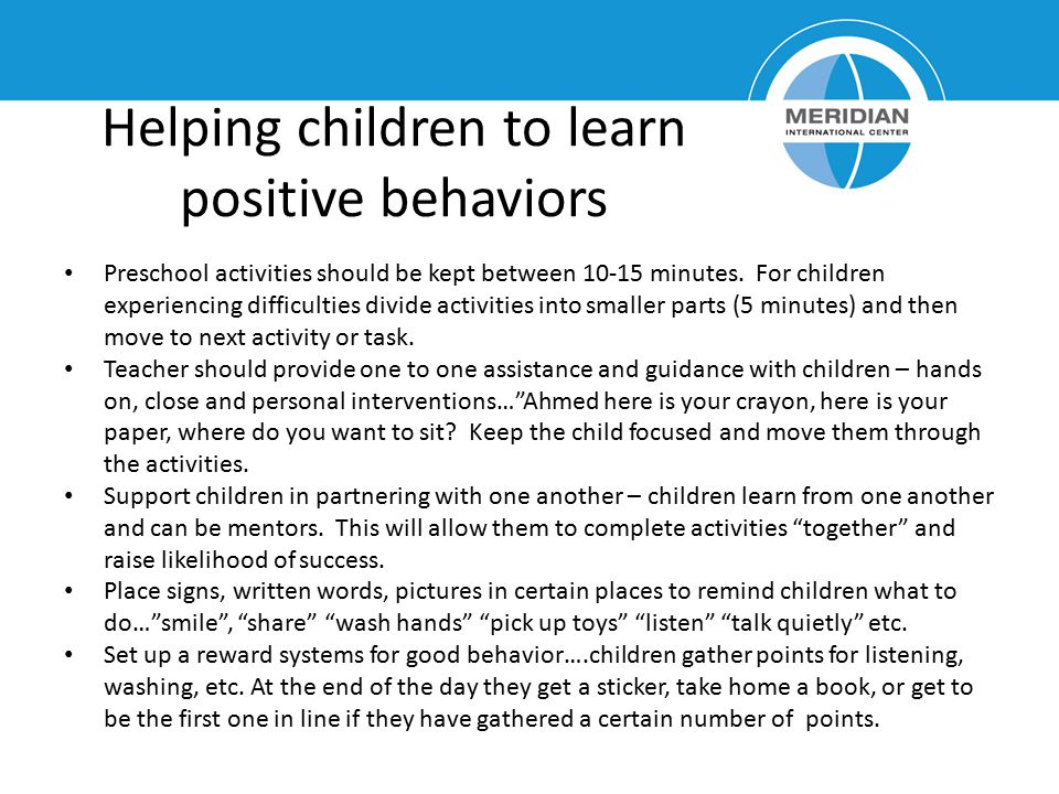 Helping children to learn positive behaviors