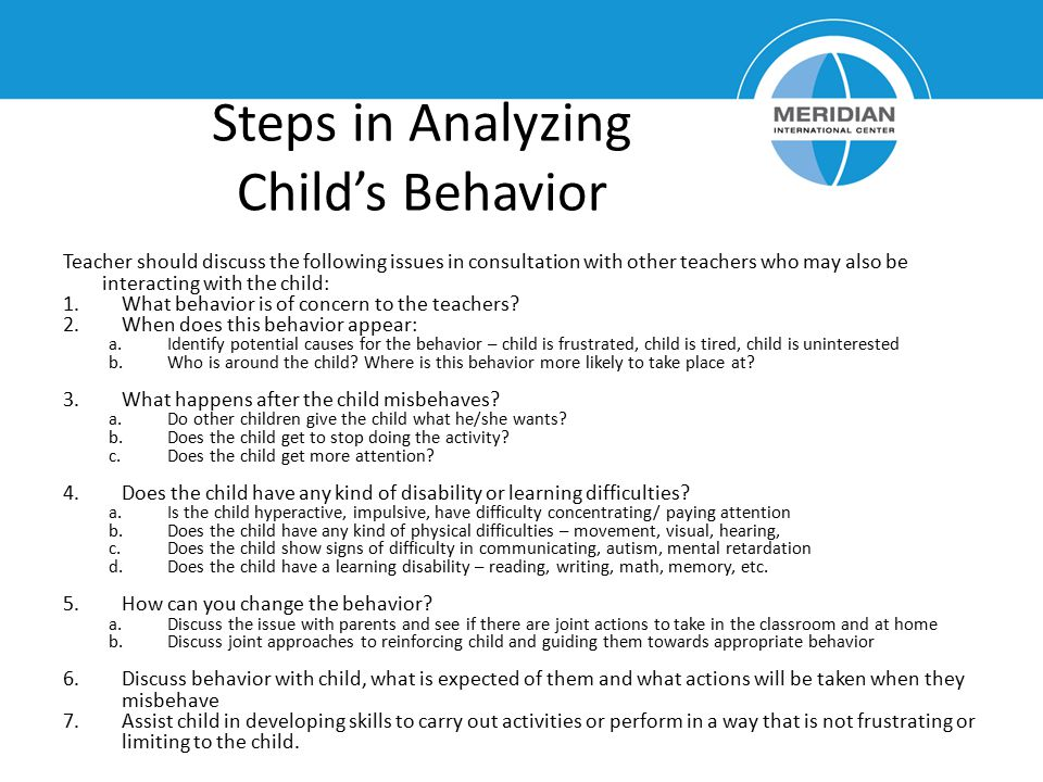 Steps in Analyzing Child's Behavior