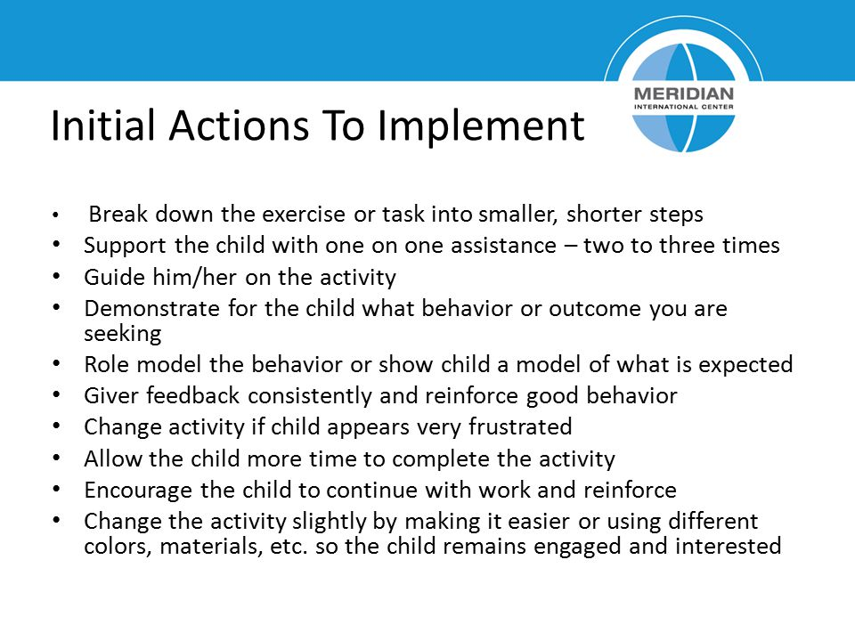 Initial Actions To Implement