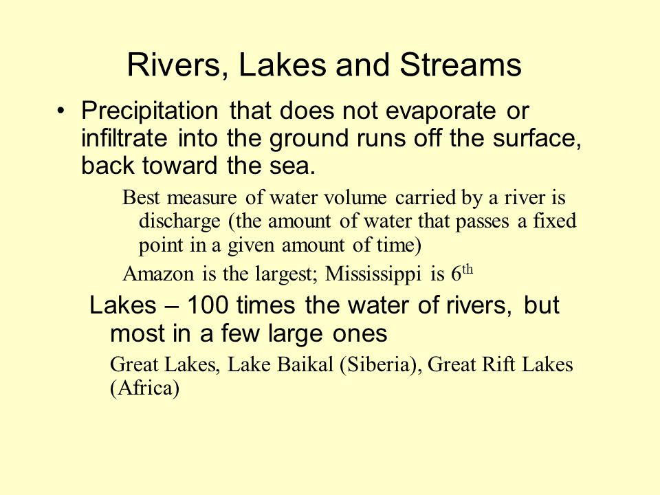 Rivers, Lakes and Streams