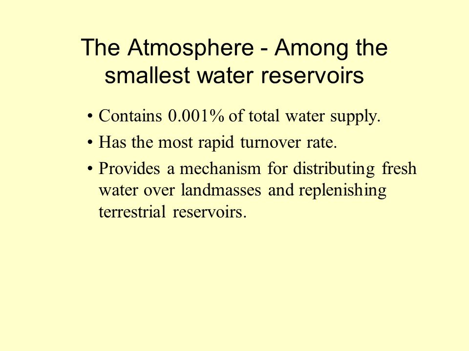 The Atmosphere - Among the smallest water reservoirs