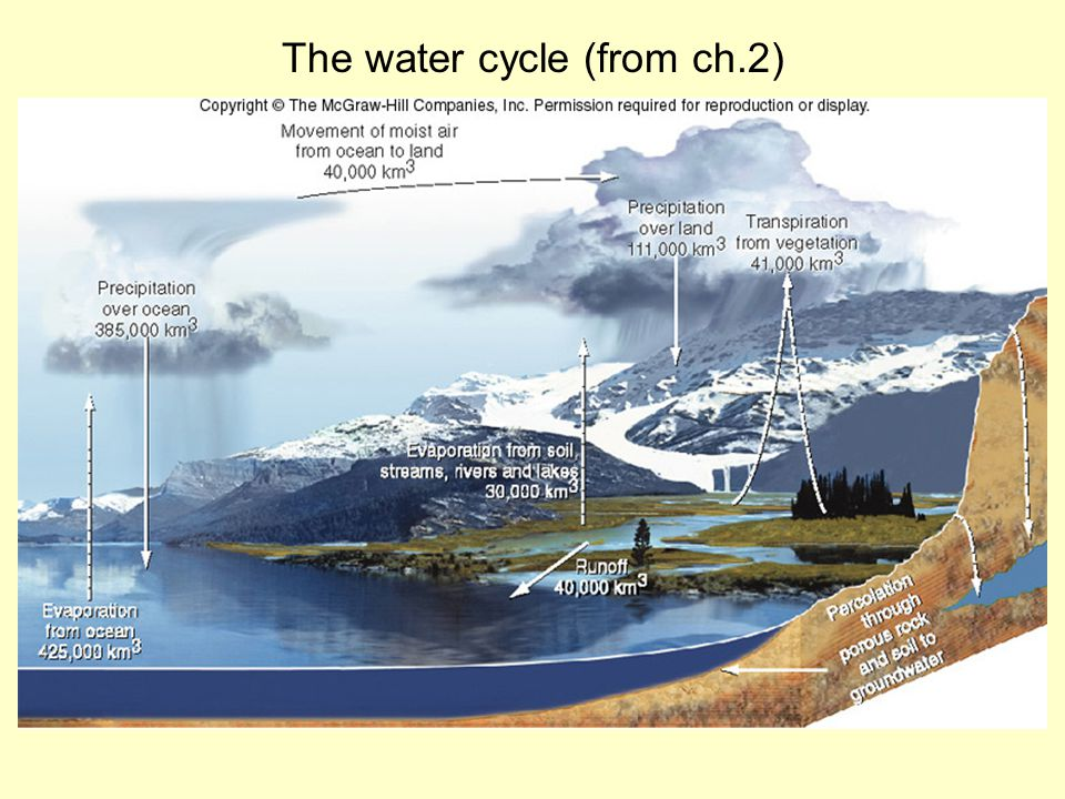 The water cycle (from ch.2)