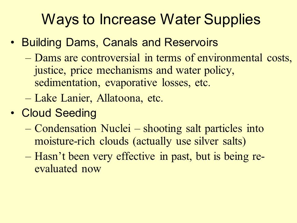 Ways to Increase Water Supplies