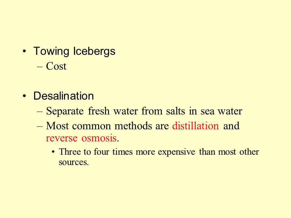 Separate fresh water from salts in sea water