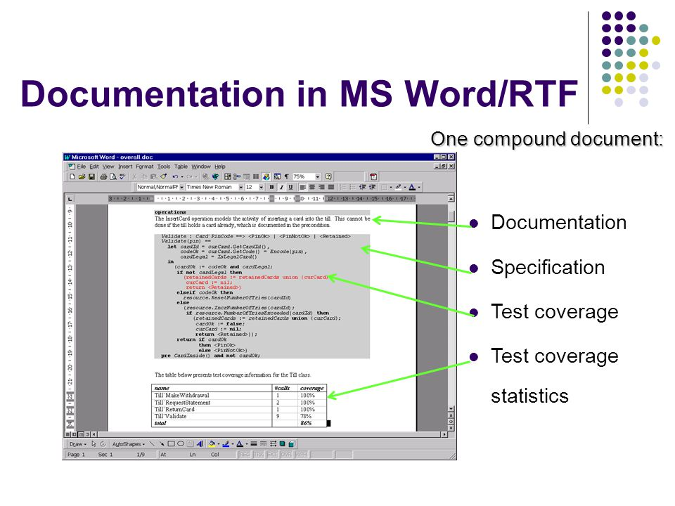 Documentation in MS Word/RTF
