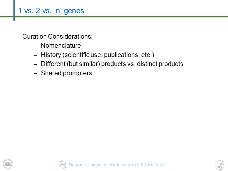 1 vs. 2 vs. 'n' genes Curation Considerations: Nomenclature